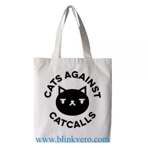 Cats Against Catcalls tote bag. Fashion bag featuring cartoon illustrations. 100% cotton shopping bag. Cotton tote bag.by blinkvero