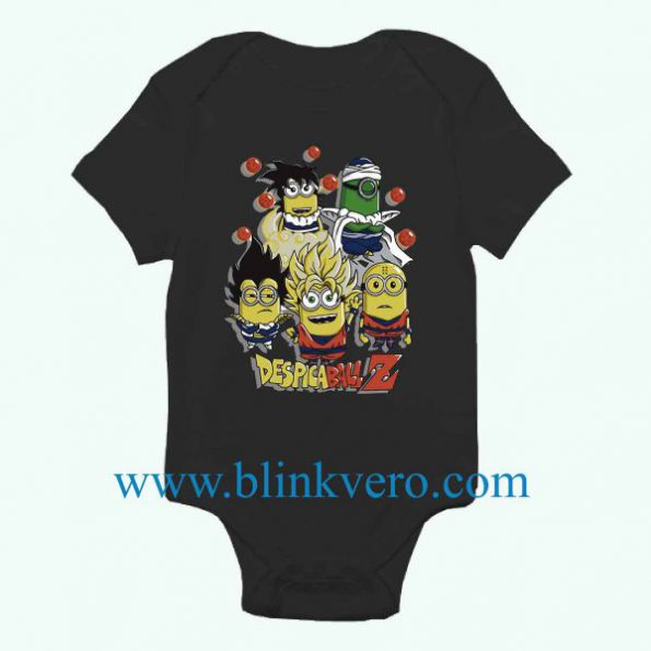 Despicable Me Minions Movie Dragon Ball Z Mashup Awesome Funny Baby Onesie Boy or Girl, Available Sizes Newborn to 24 Months
