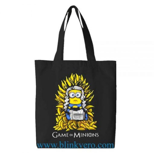 Game of Minions tote bag. Fashion bag featuring movie illustrations. 100% cotton shopping bag. Cotton tote bag.by blinkvero