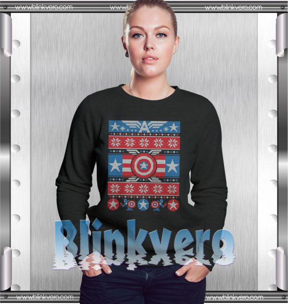 Captain America Ugly Christmas Style Shirts For Womens Size S 3XL Unisex Sweatshirt