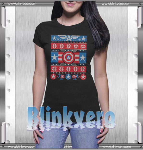 Captain America Ugly Christmas Style Shirts For Womens Size S 3XL Unisex Shirt