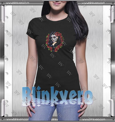 Sugar Skull Girl with Red Roses Style Shirt T shirt