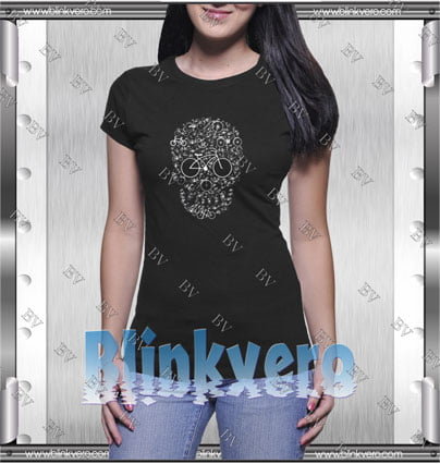 Bicycle Skull Graphic Style Shirt T shirt